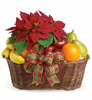 cesto regalo Natalizio con frutta e stella di Natale