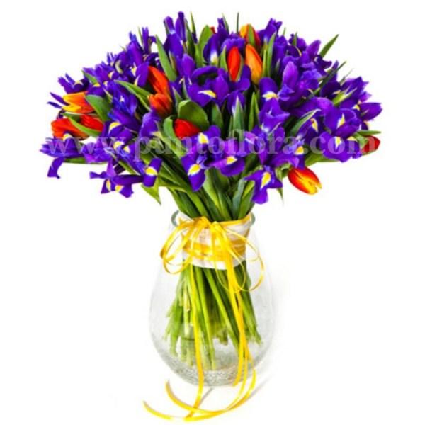 Fascio con iris blu e tulipani