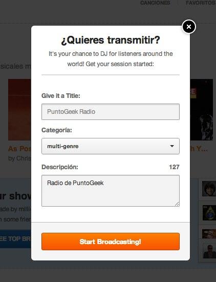 Grooveshark broadcast