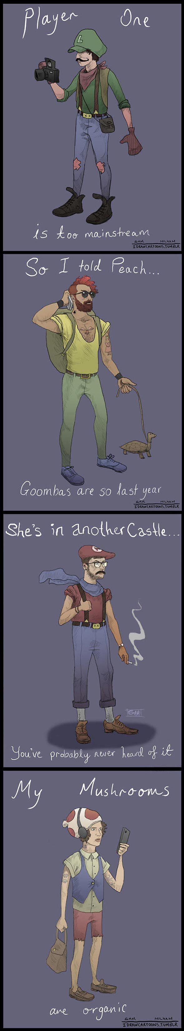 Los personajes de Mario Hipsters