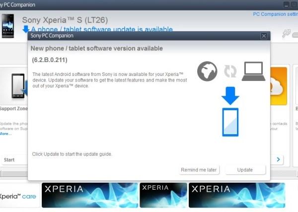 Actualización del Sony Xperia S