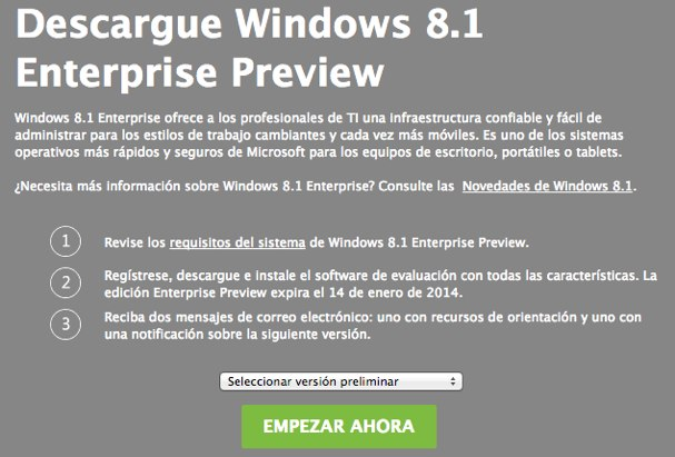 Descargue Windows 8.1 Enterprise Preview