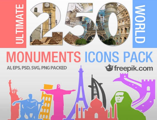 250 Ultimate World Monuments Icon Pack