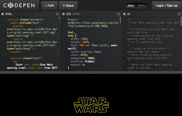 Star Wars opening css