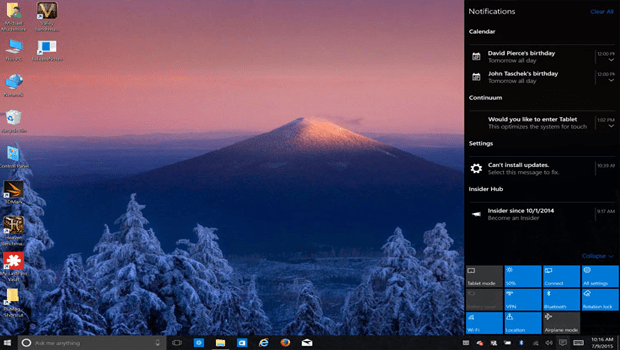 centro de acciones windows 10