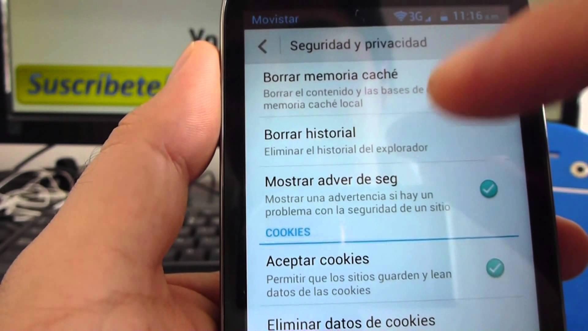borrar historial de navegacion android