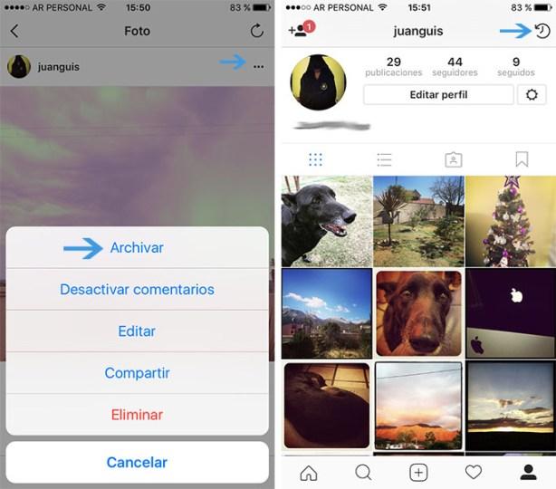 Opción de archivar fotos en Instagram