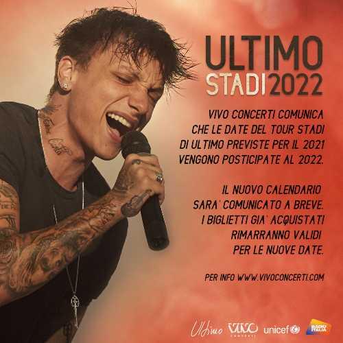 ULTIMO - Il tour negli stadi si sposta al 2022