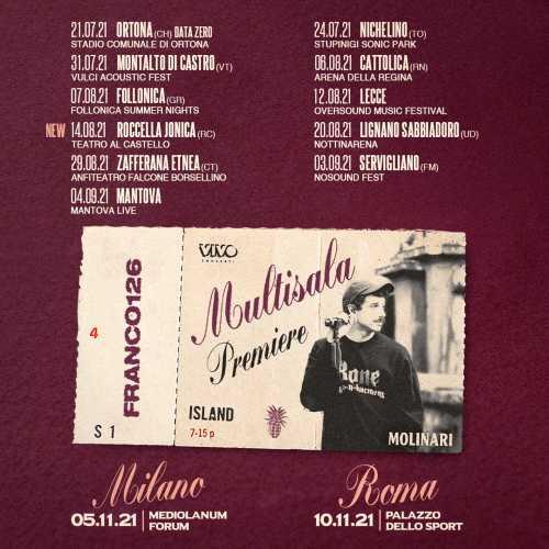 FRANCO126 - Al via da stasera MULTISALA PREMIERE, il viaggio estivo del cantautore