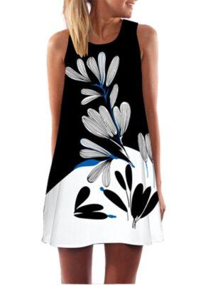 Women Floral  Sundress Casual Dress Print Chiffon Dress Sleeveless