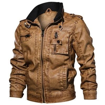 Men Winter Biker Leather Jacket 1