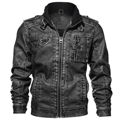 Men Winter Biker Leather Jacket 4
