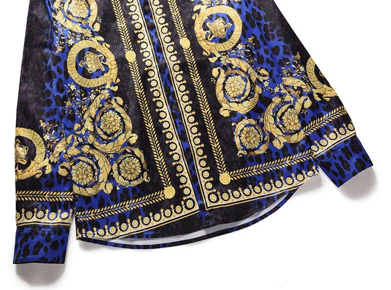 Royles! Men's Leopard styled Floral Long Sleeve Shirt 3
