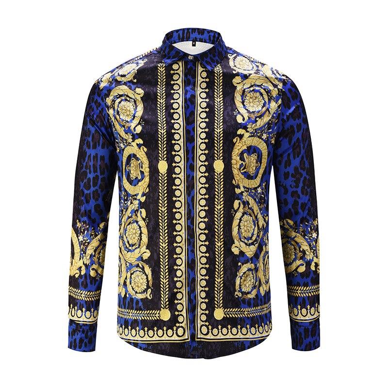 Royles! Men's Leopard styled Floral Long Sleeve Shirt 1