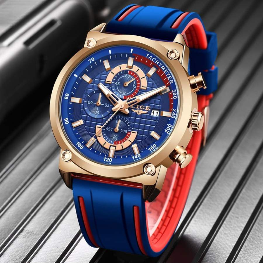 LIGE Silicone Waterproof Quartz Gold Men Watch 2