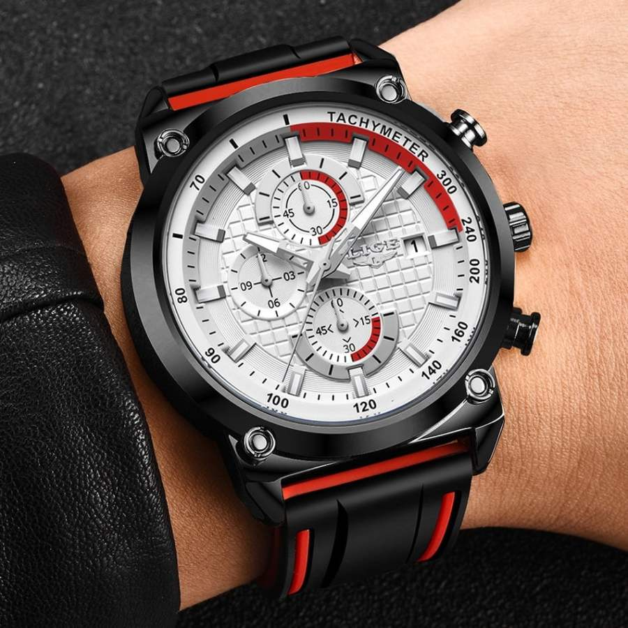 LIGE Silicone Waterproof Quartz Gold Men Watch 13