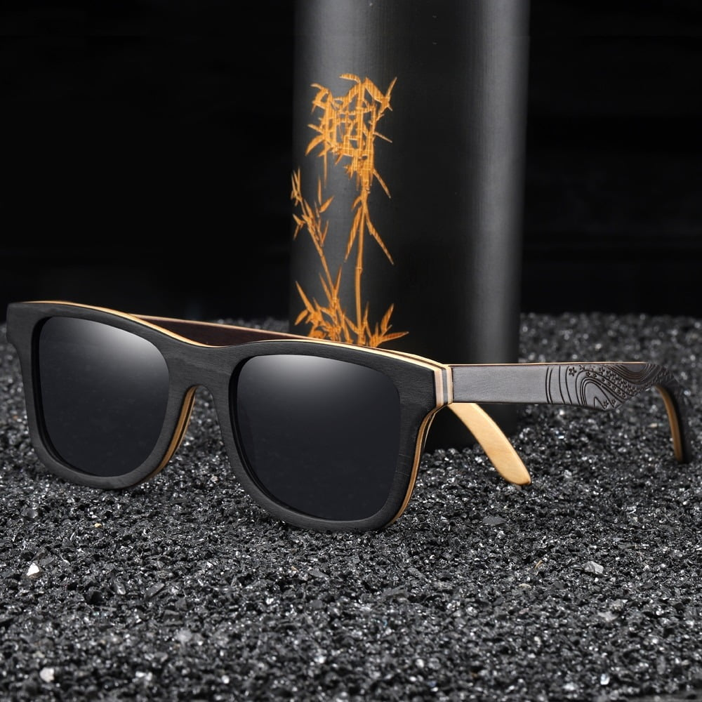 GM Luxury Skateboard Wood Sunglasses Vintage Black Frame Wooden Sunglasses Women Polarized Men's Bamboo Wood Sunglasses S5832 2