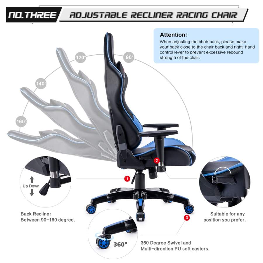 High Back Racing themed Reclining Ergonomic Adjustable Chair with Headrest 28