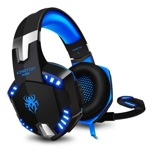 KingTop Wired Gamer Headphones With LED Light Sininen