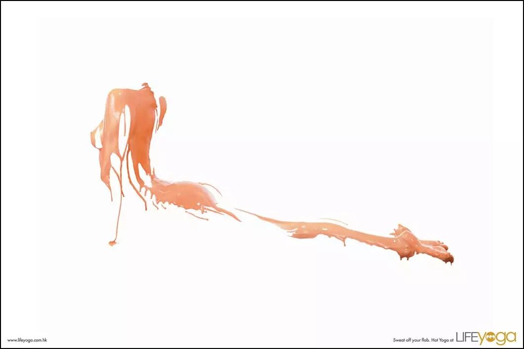 Leo Burnett — Sweat off your flab — Yoga print ads.