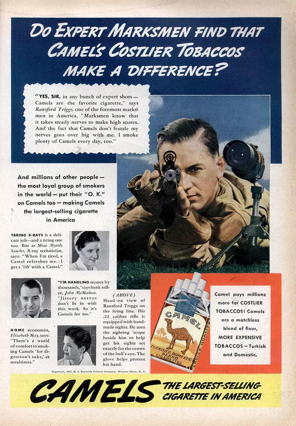 Smoke Camel Cigarettes, Become a Better Marksman. 1937 Ad