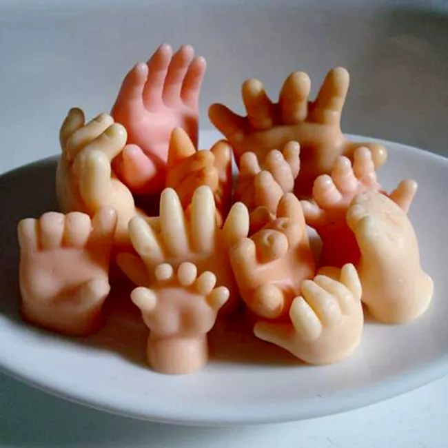 Soap shaped like little baby hands