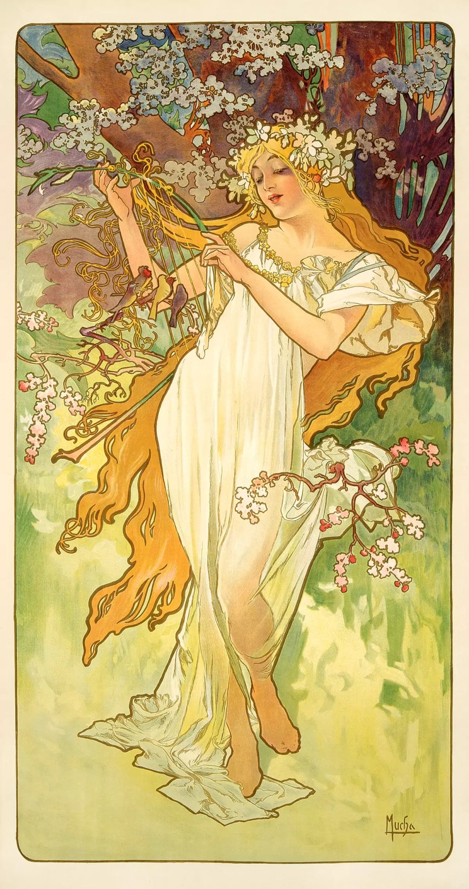 The Seasons - Spring - By Alfons Mucha 1896