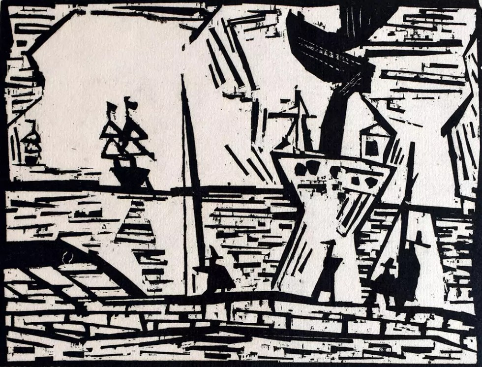 "On the Quay Wall | 1921 | Woodcut 15.95""x 12.21"""