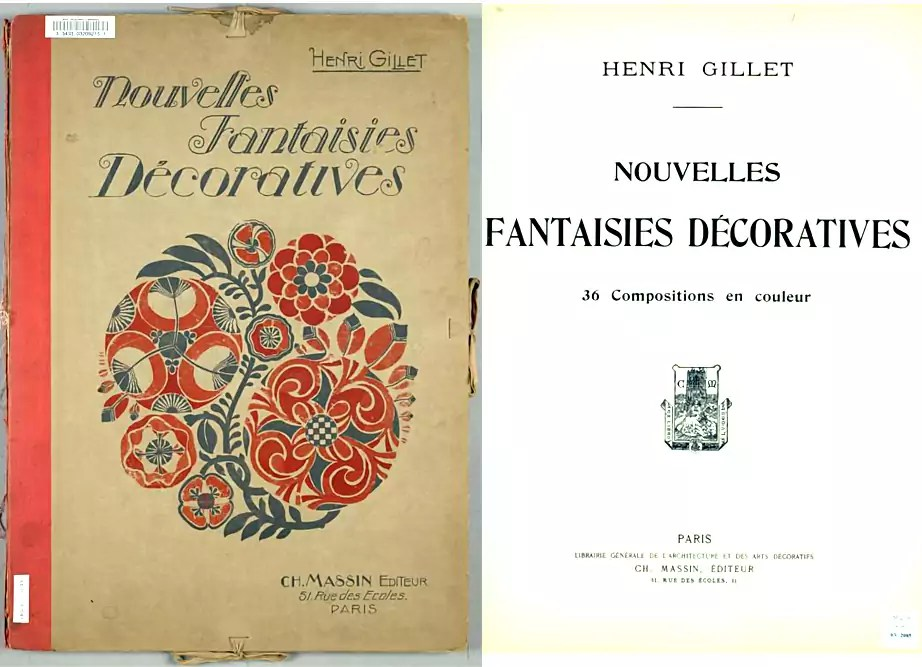 Nouvelles Fantaisies Décoratives Cover and Title Page |  Floral  |  Henri Gillet  c.1900