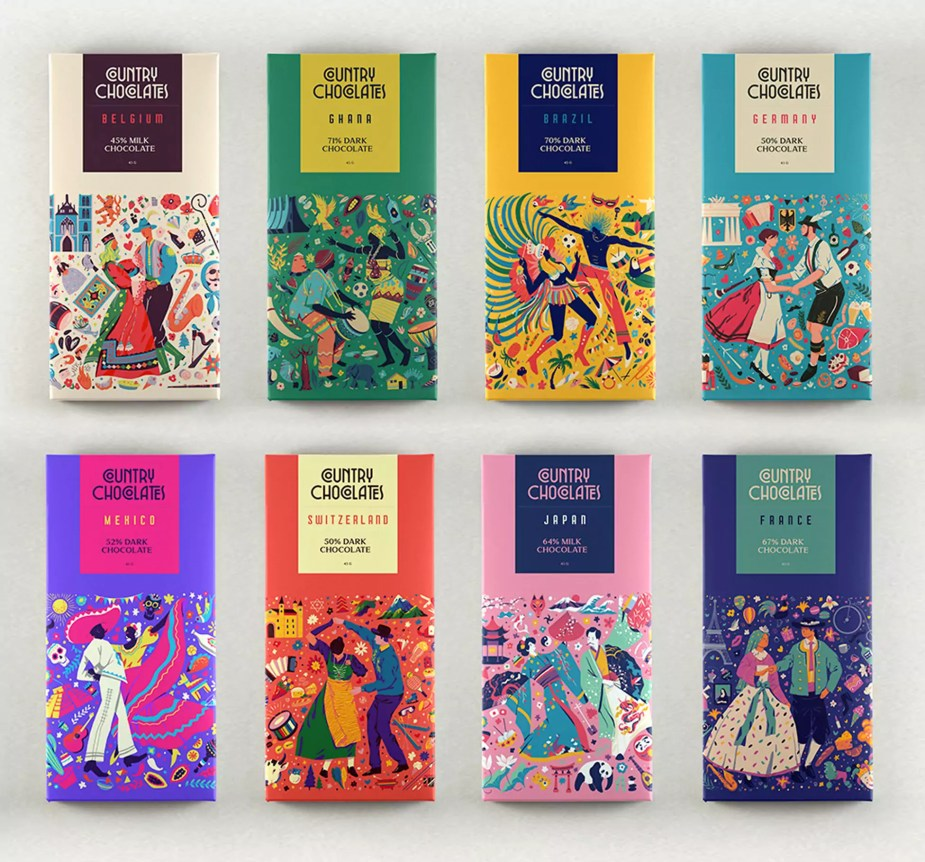 Colorful Country Coded Chocolate Bars by Muhammed Sajid