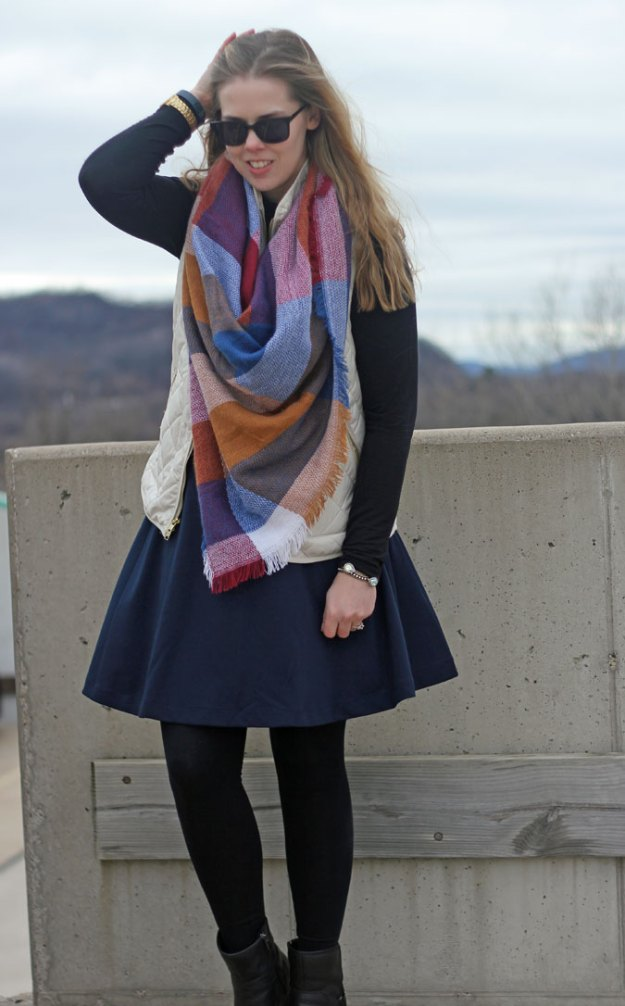 navy-skirt-black-turtleneck-cream-vest-blanket-scarf