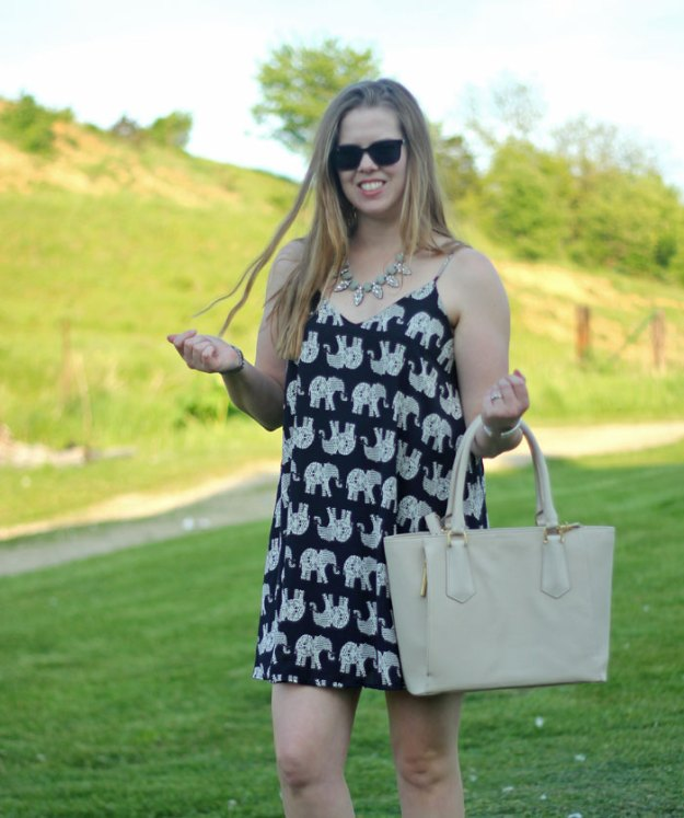 Elephant sundress with Dagne Dover mini tote. Elephants are having a moment! Have you jumped on the trend?