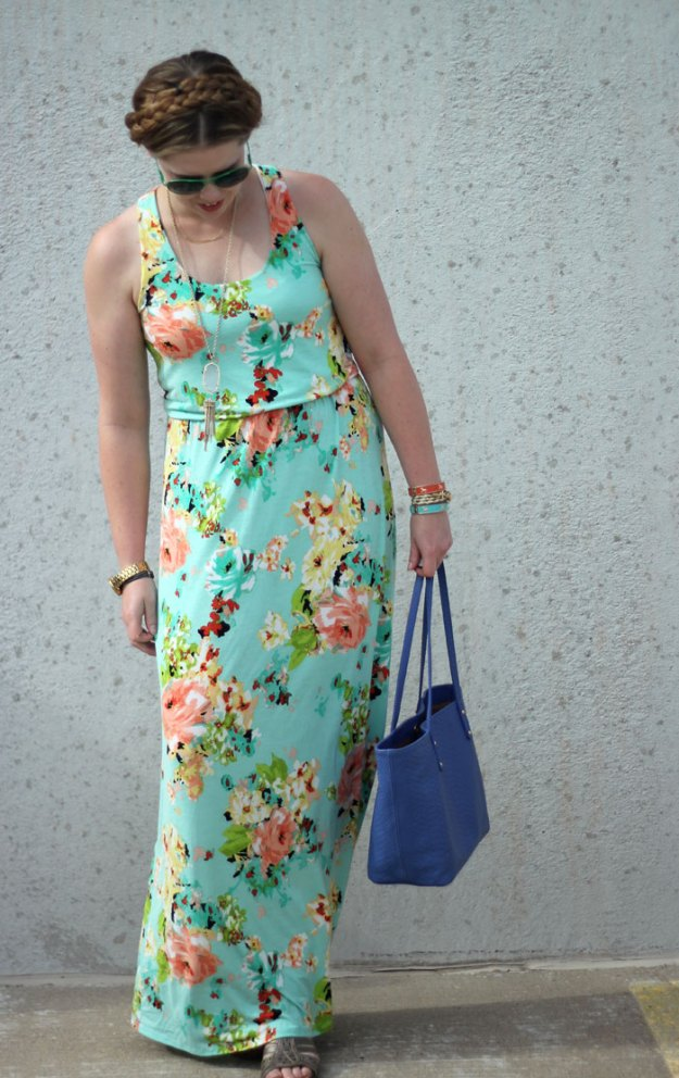 mint floral maxi dress, GiGi New York tote, gold jewelry, sandals
