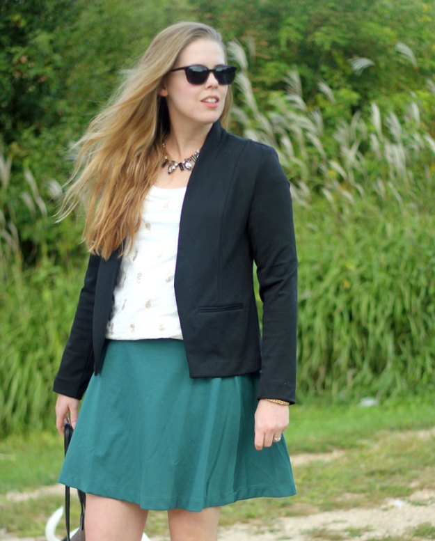 Black blazer, gold pineapple print shirt, green swing skirt, Chloe + Isabel necklace | Puppies & Pretties