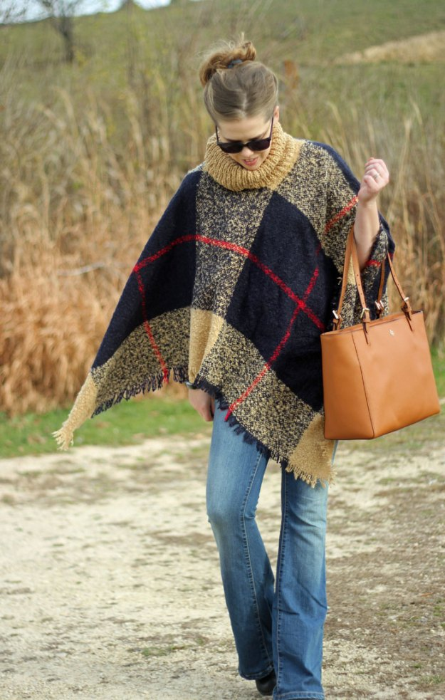 How to wear a plaid poncho: Grace & Lace poncho, flare jeans, booties, Tory Burch tote | Puppies & Pretties