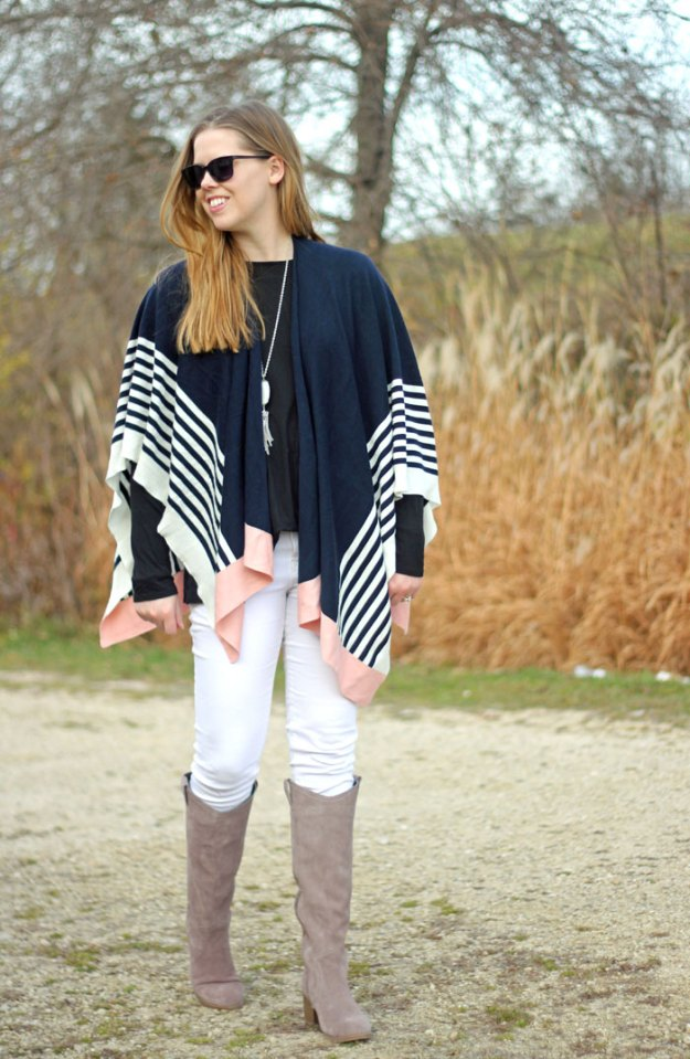 It's a Wrap: Talbots striped white, navy and pink wrap, black long sleeved shirt, white jeans, grey boots. Winter style, travel outfit | Puppies & Pretties