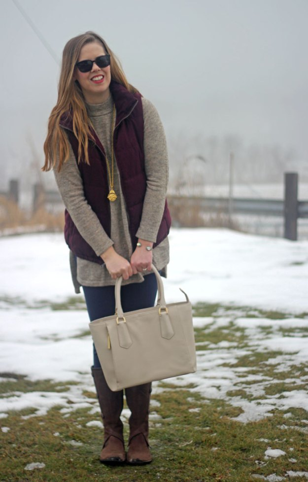 How to wear a maroon vest: Old Navy maroon vest, H&M sweater tunic, Lilly Pulitzer Mia leggings, Merrel boots, Julie Vos pendant, Dagne Dover mini tote | Puppies & Pretties