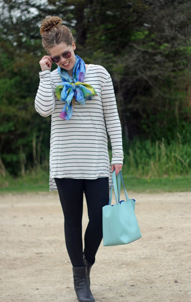 GYPO floral scarf, bow scarf, striped tunic, Zella leggings, Deux Lux mint scallop tote, Clarks booties | stripes and florals | Puppies & Pretties