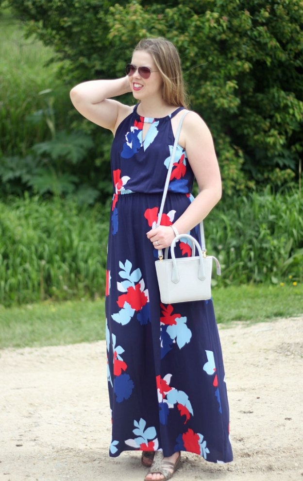 Navy Floral Maxi Dress: navy, mint, and coral floral maxi dress, grey Dagne Dover petite tote | summer style | Puppies & Pretties