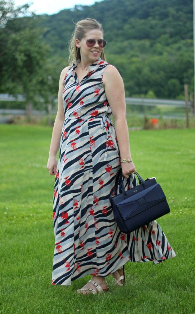 Buoy Print Maxi Dress: L.L. Bean maxi dress, Kate Spade bow bag, Kendra Scott necklace, Birkenstock sandals | Puppies & Pretties