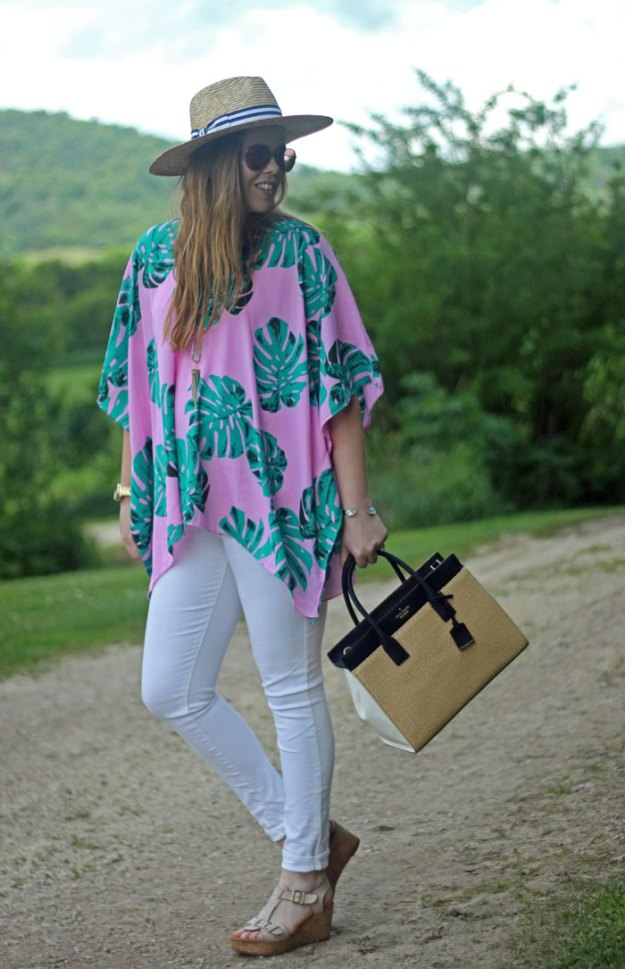 Summer Poncho in Palm Print: Buddy Love North Palm Tunic, Old Navy white jeans, Clarks sandals, Kendra Scott necklace, Hat Attack x Lemon Stripes panama hat, Kate Spade straw bag | Puppies & Pretties