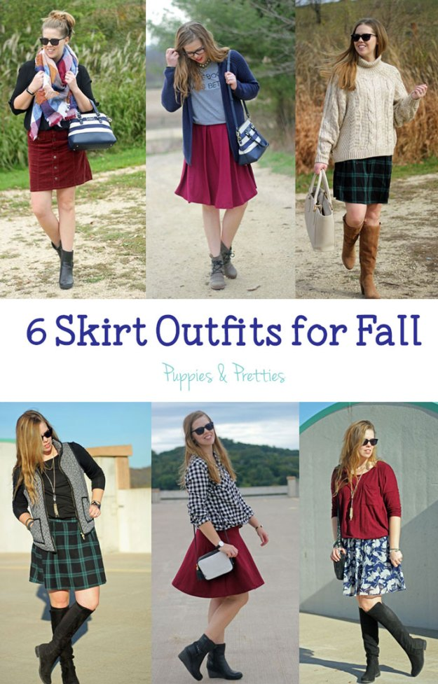 6 skirt outfits for fall: there are so many great ways to wear a skirt during fall! | Puppies & Pretties