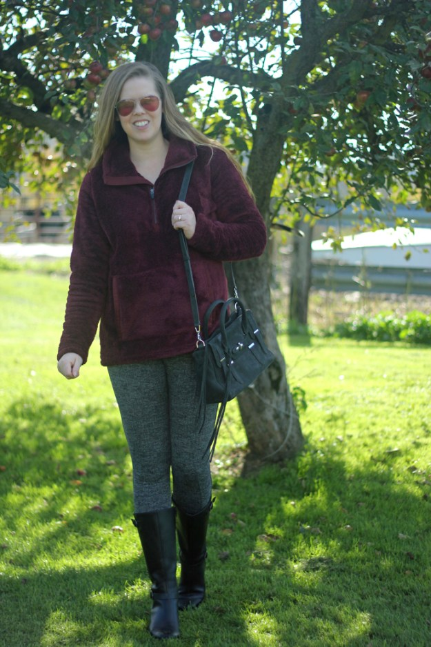 Comfy and Casual: Athleta herringbone leggings, maroon LL Bean pullover, Rebecca Minkoff purse, Clarks boots | Puppies & Pretties
