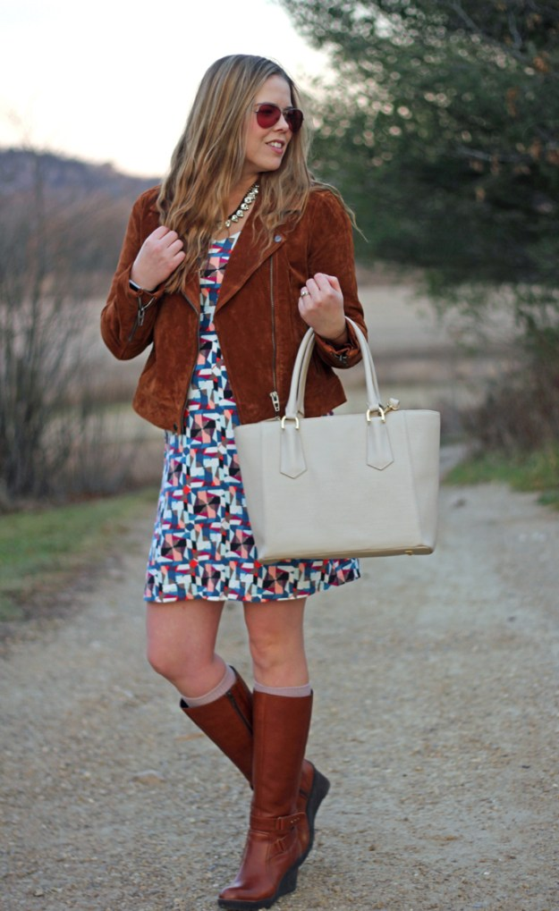 BLANKNYC Suede Jacket: Athleta dress, suede jacket in Spice, Dagne Dover tote, Clarks boots, Loren Hope necklace | Puppies & Pretties