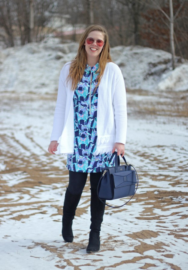 Alpaca My Bags: Lilly Pulitzer Opal dress, Lilly Pulitzer white fringe cardigan, black leggings, black OTK boots, Kate Spade bow bag | Brighten up winter with a great Lilly Pulitzer look | Puppies & Pretties