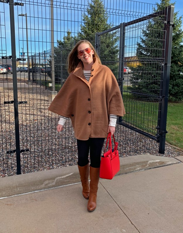 Camel Cape with Stripes: Ann Taylor poncho coat, Old Navy striped tunic, leggings, brown riding boots, red Tory Burch bag | Puppies & Pretties