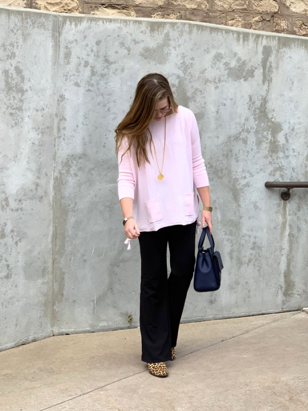 Comfortable Work Look: Pink Lilly Pulitzer sweater with tassels, black flare leg Athleta pants, Vionic leopard booties, Julie Vos pendant, Kate Spade bow bag in navy | Puppies & Pretties