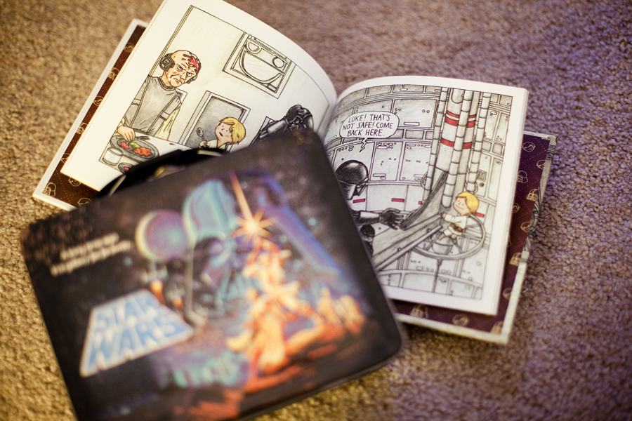 Star Wars lunch box and Star Wars picture book, Darth Vader and Son by Jeffrey Brown.