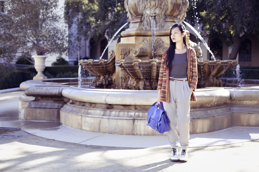 Ren in front of a fountain in Pasadena city hall.