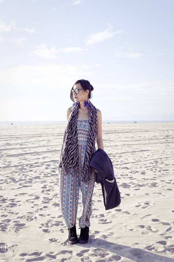 Ren's romper outfit at Marina Del Rey beach.